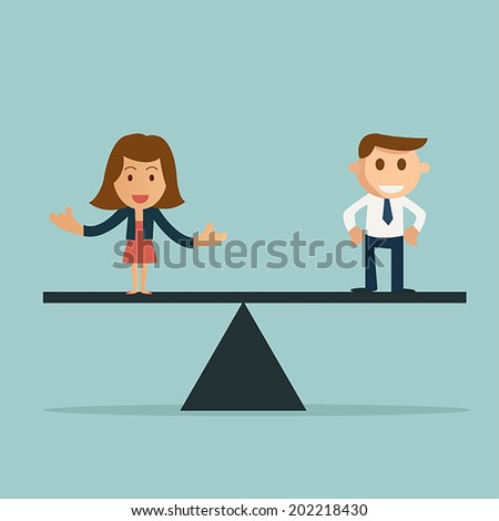 Businessman and businesswoman on the scale. Manpower concept choosing the perfect candidate for the job - stock vector