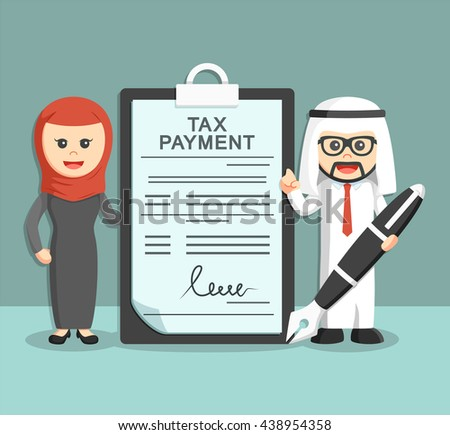 businessman and businesswoman with tax payment document and holding pen - stock vector