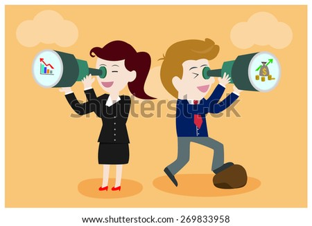 Businessman and businesswomen looking in the future. - stock vector