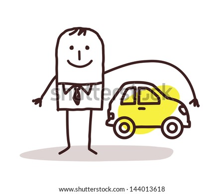 businessman and car insurance - stock vector
