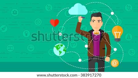 Businessman and cloud computing. - stock vector