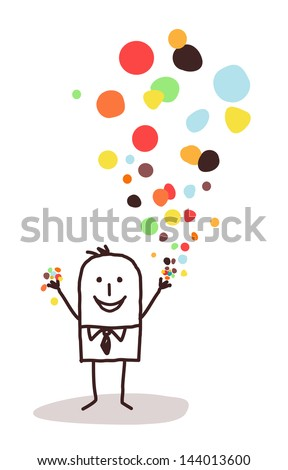 businessman and confetti - stock vector