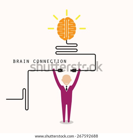 Businessman and creative light bulb symbol with idea and knowledge connection sign. Business and education concept. Vector illustration - stock vector