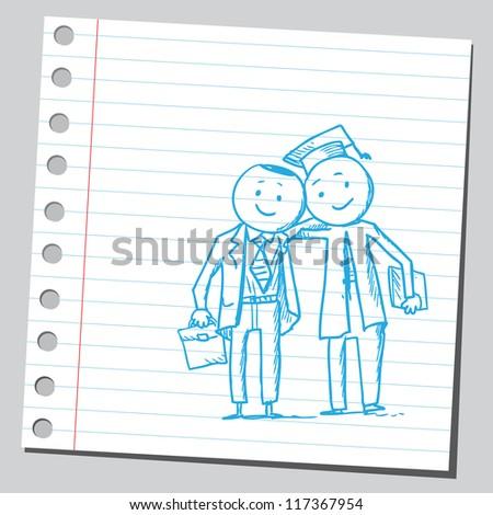 Businessman and graduate - stock vector