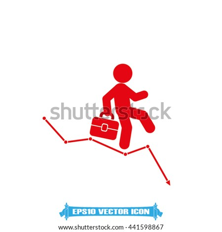 Businessman and graph fall icon vector illustration eps10.