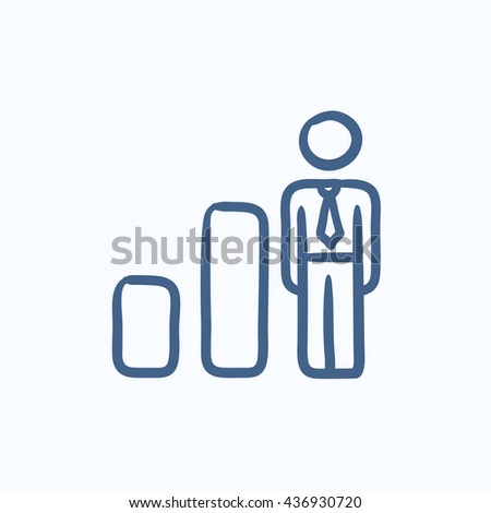 Businessman and graph vector sketch icon isolated on background. Hand drawn Businessman and graph icon. Businessman and graph sketch icon for infographic, website or app. - stock vector