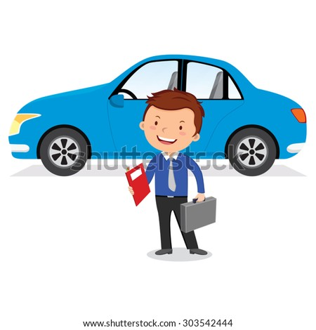 Businessman and his car. Vector illustration of a man standing near a car. - stock vector