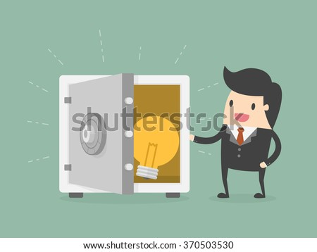 Businessman and Idea In Safe. Business Concept Cartoon Illustration.