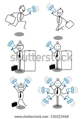 businessman and megaphone collection - stock vector
