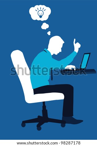 businessman and notebook - vector illustration - stock vector