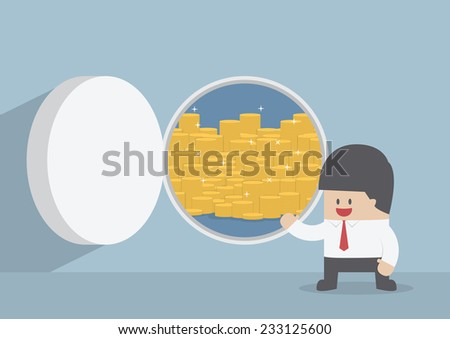 Businessman and opened vault door with gold coins, VECTOR, EPS10 - stock vector
