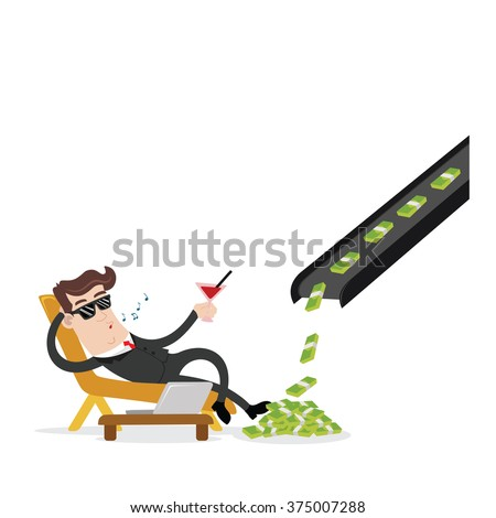 businessman and passive income - stock vector