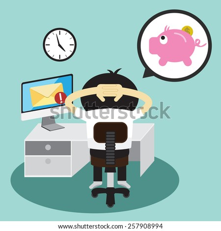 Businessman and piggy bank in bubble talk message - stock vector