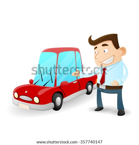 Businessman and red car