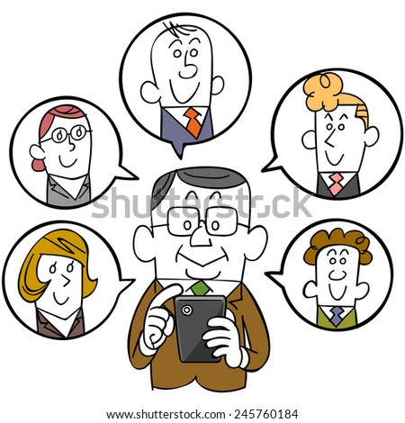 Businessman and smartphones and social networks - stock vector