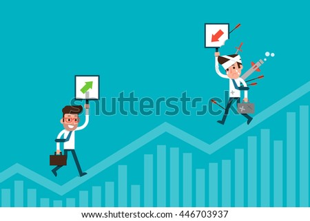 Businessman and stock chart, investment concept. Flat design cartoon.