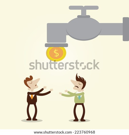 Businessman and the manager waiting coin drop from faucet.Vector cartoon design metaphor. - stock vector