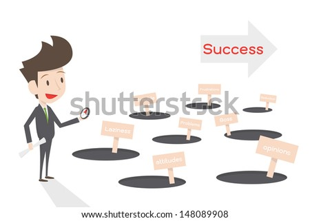 businessman and the way to success, vector - stock vector