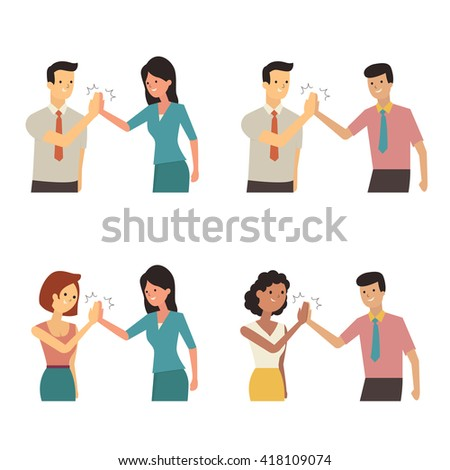Businessman and woman clapping hands each other in partnership, supportive, cheerful, successful or corporation concept. Diversity with multi-ethnic character, flat design.  - stock vector