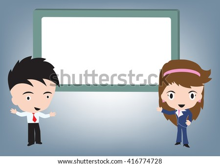 Businessman and woman standing and speaking and whiteboard behind, vector illustration in flat design - stock vector