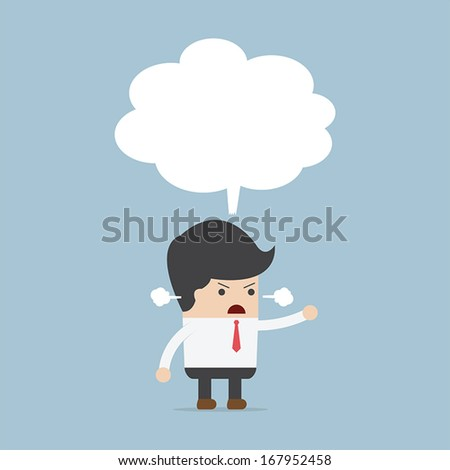 Businessman angry with blank speech, VECTOR, EPS10 - stock vector