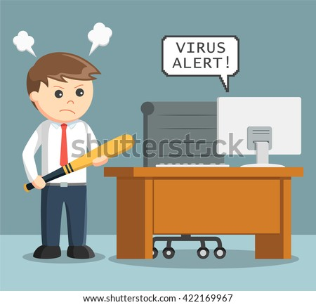 businessman angry with virus in his computer