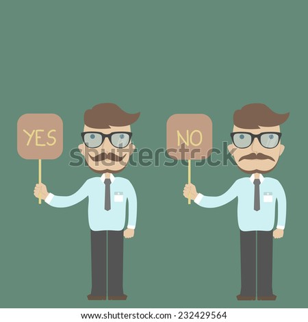 Businessman answers yes or no - stock vector