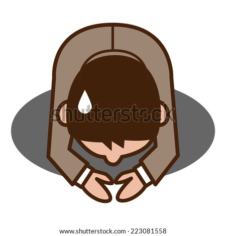 Businessman apologize - stock vector