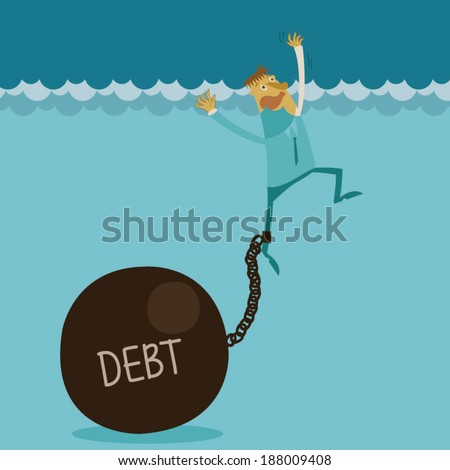 Businessman appeal for aid because debt weigh - stock vector
