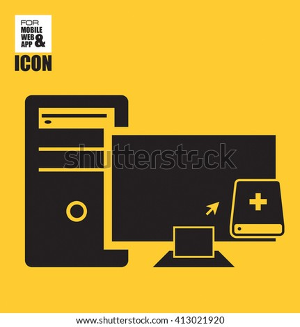 Businessman application for a job icon-Computer to external storage drive icon - stock vector