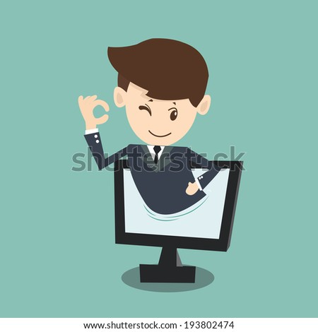 businessman approval  in monitor screen  - stock vector