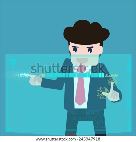 Businessman are data analyzed at a computer screen. - stock vector