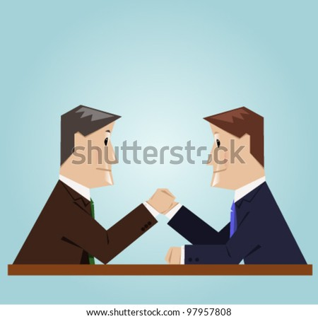 Businessman arm wrestlyng