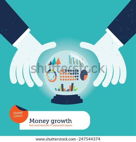 Businessman asking a crystal ball with charts. Vector illustration Eps10 file. Global colors. Text and Texture in separate layers. - stock vector