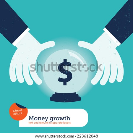 Businessman asking a crystalball. Vector illustration Eps10 file. Global colors. Text and Texture in separate layers. - stock vector