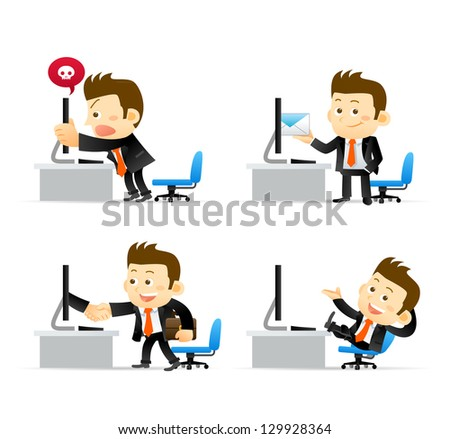 Businessman at computer - stock vector