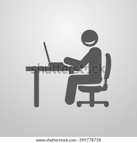 Businessman at computer. Businessman working at the table. - stock vector