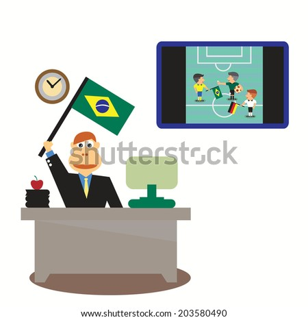 Businessman at desk with Brazil Flag and TV live soccer
