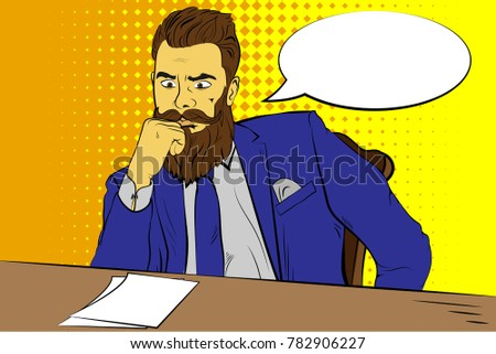 Businessman at the table with thought bubble. Pop art retro vector illustration