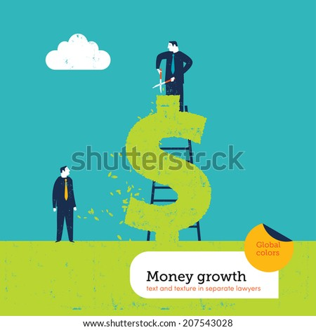 Businessman at work on a dollar form hedge. Vector illustration Eps10 file. Global colors. Text and Texture in separate layers.  - stock vector