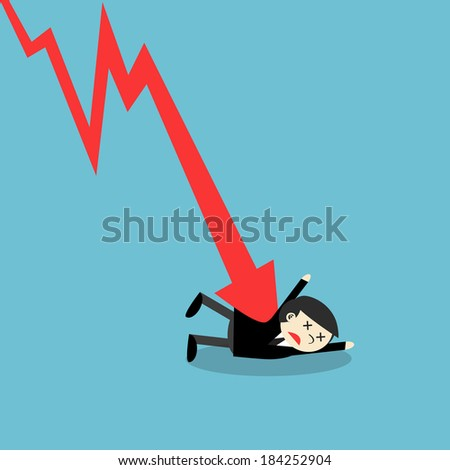 Businessman attacked by a downtrend graph, business concept. - stock vector