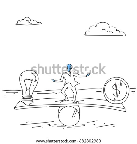 Businessman Balancing Between Plus And Minus Business Stability Concept Vector Illustration