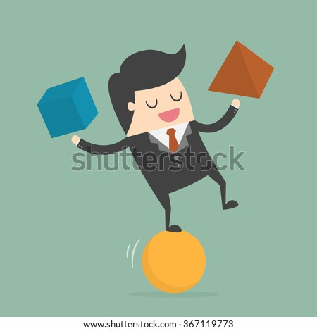Businessman Balancing On the Ball. Business Concept Cartoon Illustration.