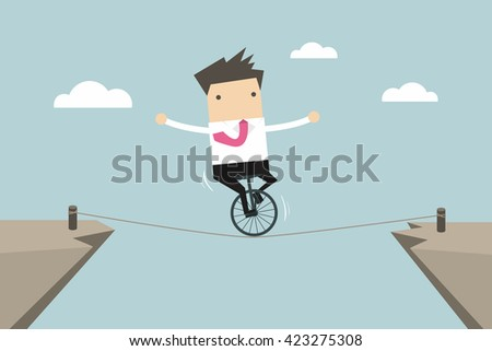 Businessman balancing on the rope vector
