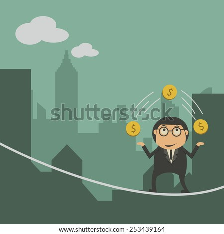 Businessman balancing on the rope with money - stock vector
