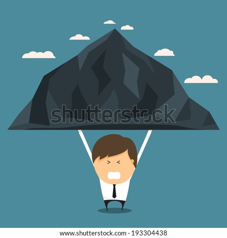 Businessman bear the mountains alone. concept of bear the burden alone. Vector illustration. - stock vector