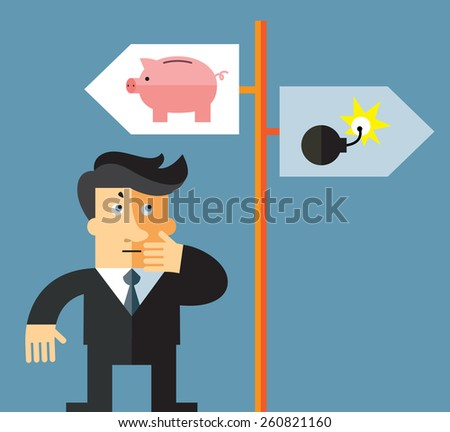 Businessman before a choice. Business flat vector illustration. - stock vector
