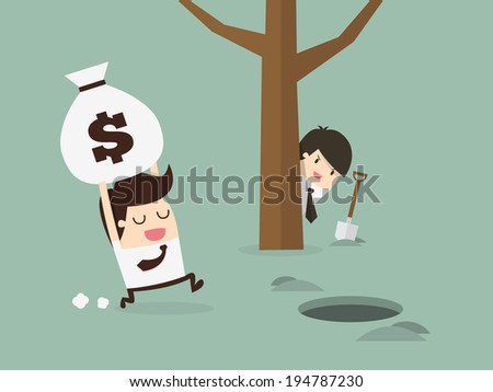 businessman being robbed  - stock vector