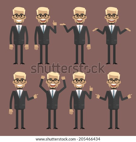 Businessman blond character in different poses - stock vector