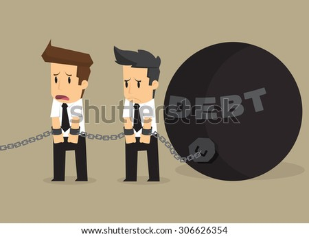 businessman bonded pendulum debt. vector - stock vector